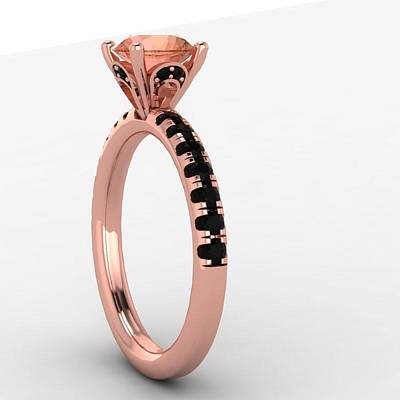 18k Jewelry - 14k Rose Gold Black Diamond Ring With Morganite Center Stone by Eternity Collection