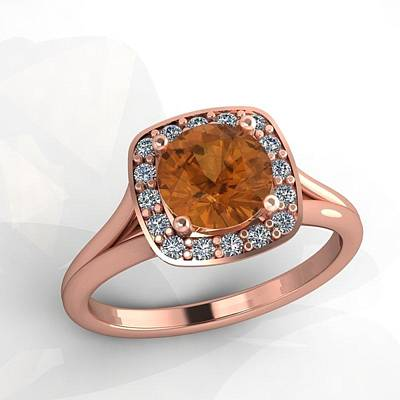 18k Jewelry - 14k Rose Gold Diamond Ring With Citrine Center Stone by Eternity Collection