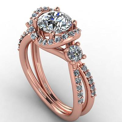 Cubic Zirconia Jewelry - 14k Rose Gold Diamond Ring With Moissanite Center by Eternity Collection