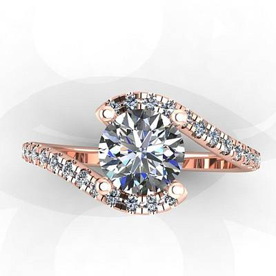 18k Jewelry - 14k Rose Gold Diamond Ring With White Sapphire Center Stone by Eternity Collection