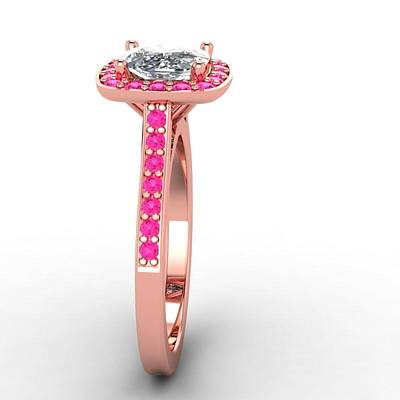18k Jewelry - 14k Rose Gold Pink Sapphire Ring With Moissanite Center Stone by Eternity Collection