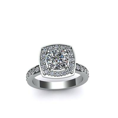 Cubic Zirconia Jewelry - 14k White Go0ld Ring With Moissanite Center Stone by Eternity Collection