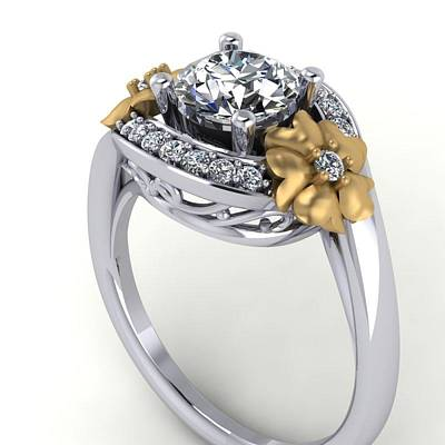 Cubic Zirconia Jewelry - 14k White Gold And Yellow Gold Diamond Ring With Moissanite Center by Eternity Collection