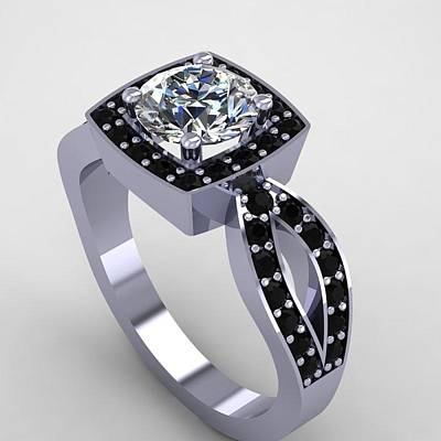 18k Jewelry - 14k White Gold Black Diamond Ring With Moissanite Center Stone by Eternity Collection