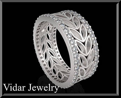 14k Jewelry - 14k White Gold Diamond Leaf Woman Wedding Ring by Roi Avidar