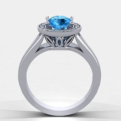 Cubic Zirconia Jewelry - 14k White Gold Diamond Ring With Blue Topaz Center Stone by Eternity Collection