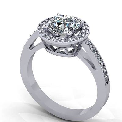 18k Jewelry - 14k White Gold Diamond Ring With Cubic Zirconia Center Stone by Eternity Collection
