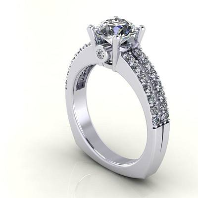 Cubic Zirconia Jewelry - 14k White Gold Diamond Ring With White Sapphire Center Stone by Eternity Collection