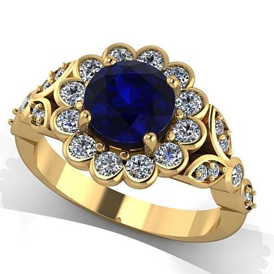 18k Jewelry - 14k Yellow Gold Diamond Ring With Blue Sapphire Center Stone by Eternity Collection