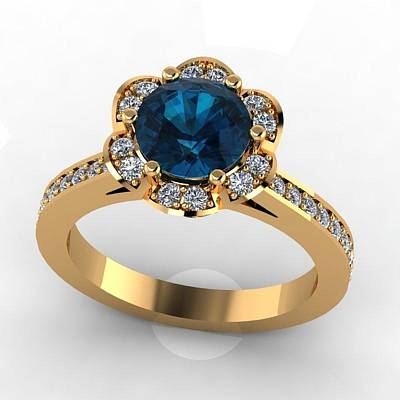 Cubic Zirconia Jewelry - 14k Yellow Gold Diamond Ring With Blue Topaz Center Stone by Eternity Collection