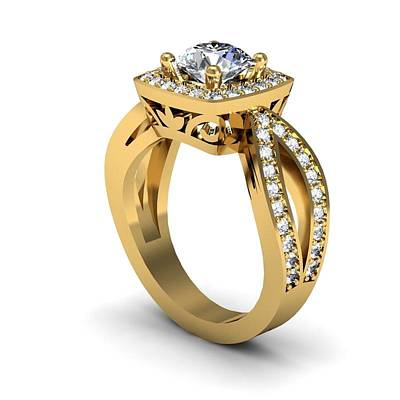 Cubic Zirconia Jewelry - 14k Yellow Gold Diamond Ring With Moissanite Center Stone by Eternity Collection