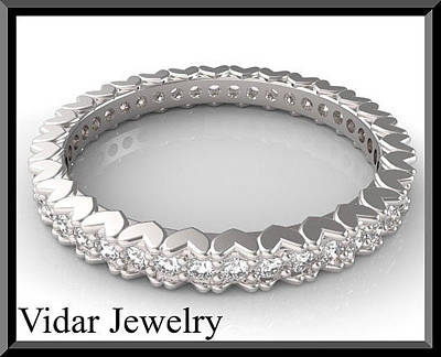 Gemstone Engagement Ring Jewelry - 14kt White Gold And Diamond Heart Woman Wedding Ring by Roi Avidar