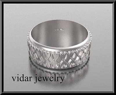 14k Jewelry - 14kt White Gold Heart Unisex Wedding Ring by Roi Avidar