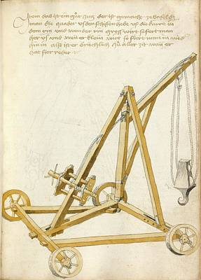 Pulley Photograph - 14th Century Military Equipment by Scientific, Historical, And Didactic Manuscripts/bellifortis/new York Public Library