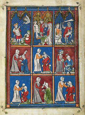 14th Century Religious Manuscript Art Print by British Library