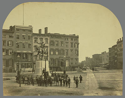 Washington Square Drawing - 14th Street With Union Square And Washington Monument by Litz Collection