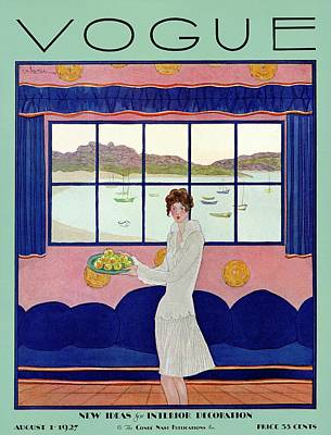 Sea Food Photograph - A Vintage Vogue Magazine Cover Of A Woman by Georges Lepape