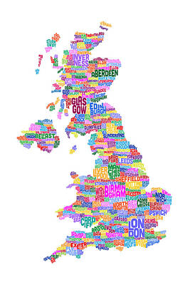 Great Britain Uk City Text Map Art Print by Michael Tompsett
