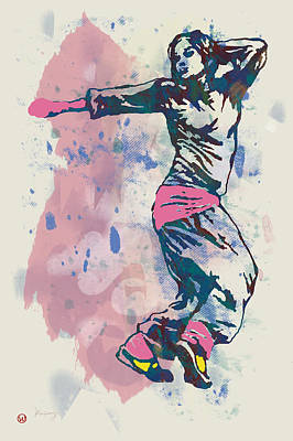 Abstract Pop Drawing - Hip Hop Street Dancing  Pop Stylised Art Poster by Kim Wang