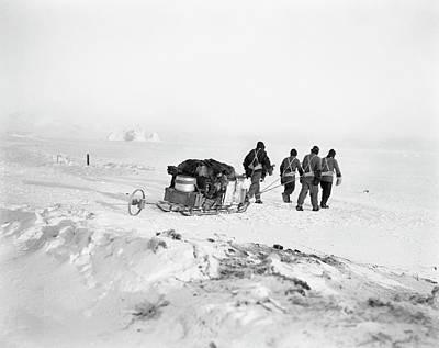 Hauling Photograph - Terra Nova Antarctic Exploration by Scott Polar Research Institute