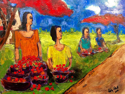 Painting - Road Side Vendor by Dilip Sheth