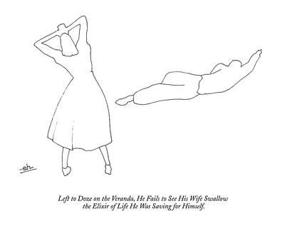 Swallow Drawing - Left To Doze On The Veranda by Erik Hilgerdt
