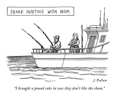 Reef Shark Drawing - New Yorker September 7th, 2009 by Joe Dator
