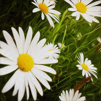 Blooming Digital Art - Wild Daisies by Les Cunliffe