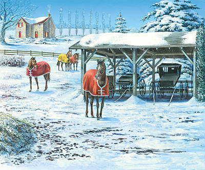 Stables Photograph - Brisk Winter Days by John Bindon