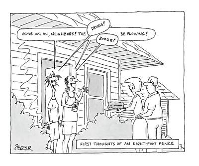 Fence Drawing - New Yorker May 28th, 2007 by Jack Ziegler