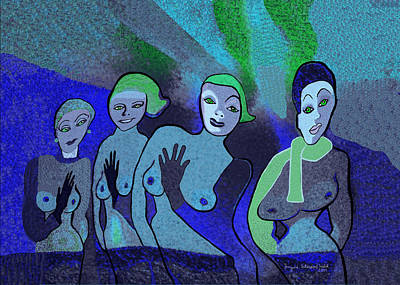 Painting - 153 -    Blue Ladies 3   by Irmgard Schoendorf Welch