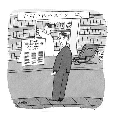 Pill Drawing - New Yorker May 25th, 2009 by Peter C. Vey