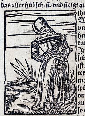 1560 Medieval Woodcut Maiden Defecating Print by Paul D Stewart