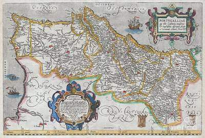 1579 Ortelius Map Of Portugal  Art Print by Paul Fearn