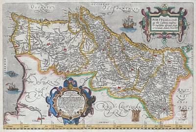 1579 Ortelius Map Of Portugal  Art Print