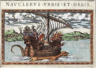 1588 Sea Monster Dragon Seen Under Ship Art Print