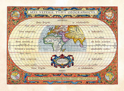 Photograph - 1590 Historical World Rare Map Aevi Veteris Typus Geographicus by Karon Melillo DeVega