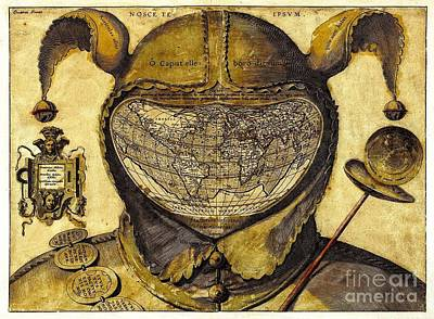 1590 World Map In Fool's Cap Original by Steven Parker