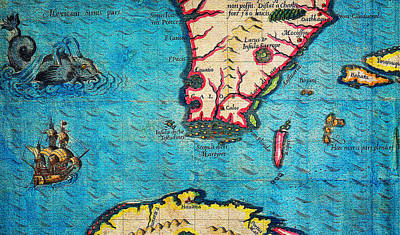 Bry Painting - 1591 De Bry And Le Moyne Map Of Florida And Cuba Geographicus Florida Debry 1591 Part by MotionAge Designs