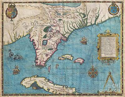 1591 De Bry And Le Moyne Map Of Florida And Cuba Art Print