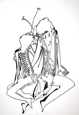 African Ceramics Drawing - Dinka Dance - South Sudan by Gloria Ssali