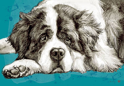 Dog Abstract Art Drawing - Dog Stylised Pop Modern Art Drawing Sketch Portrait by Kim Wang