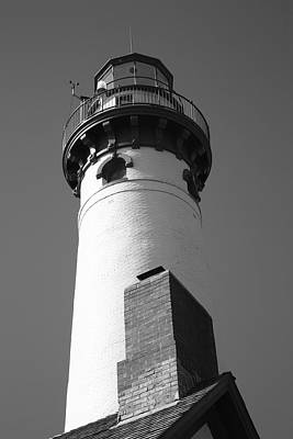 Photograph - Lighthouse - Presque Isle Michigan 7 Bw by Frank Romeo