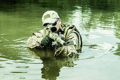 Photograph - Member Of Navy Seal Team Crossing by Oleg Zabielin