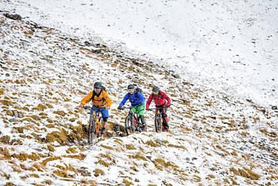 9424588504 Warm Front Photograph - Mountain Bike Mtb In The Snow by Stefan Kuerzi