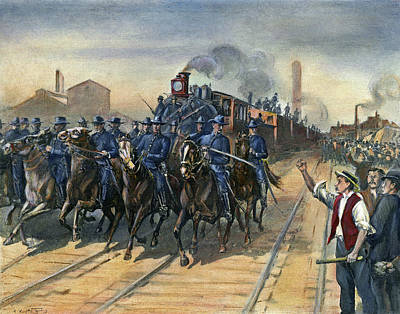 Train Tracks Drawing - Pullman Strike, 1894 by Granger