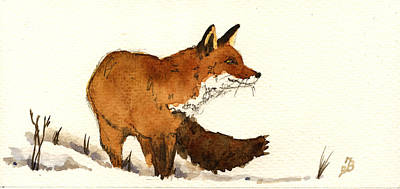Red Fox Art Print by Juan  Bosco