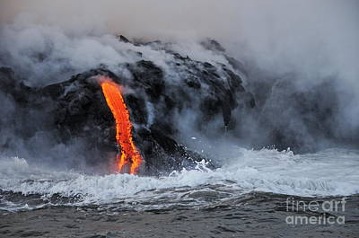Steam Rising Off Lava Flowing Into Ocean Art Print by Sami Sarkis