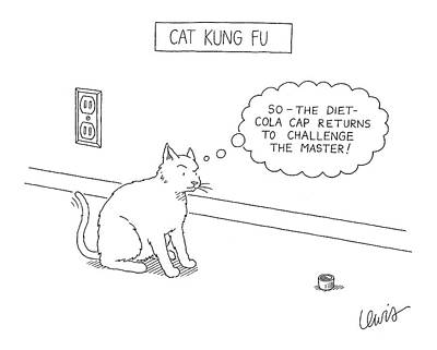 Bottle Cap Drawing - Cat Kung Fu by Eric Lewis