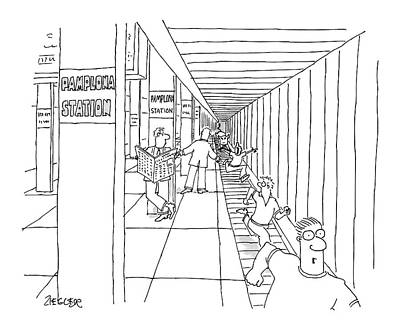 Train Station Drawing - New Yorker April 24th, 2006 by Jack Ziegler